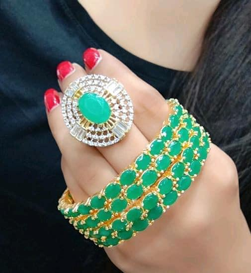 Classy Bangles Set With Ring Green Color