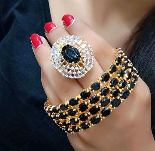 Classy Bangles Set With Ring Black Color