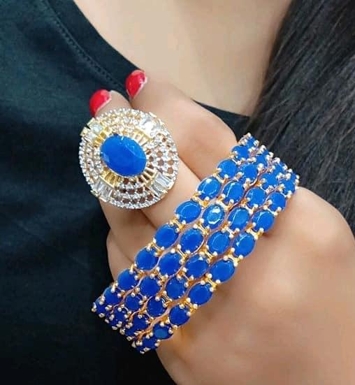 Classy Bangles Set With Ring Blue Color