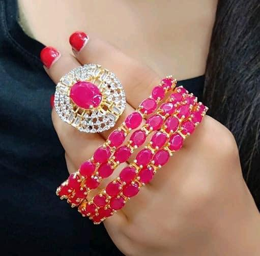 Classy Bangles Set With Ring Pink Color