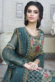 Beautiful crinkle chiffon outfit in green-blossom color # P2296