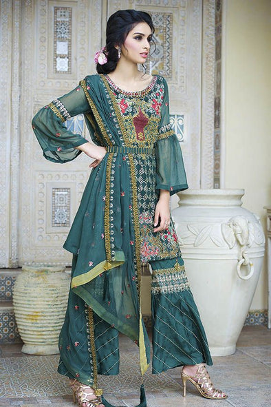 Beautiful crinkle chiffon outfit in green-blossom color