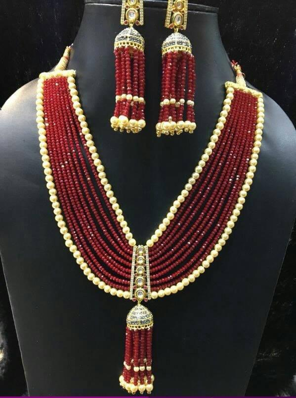 Beautiful Crystal Jewellery Complete Set in Maroon color