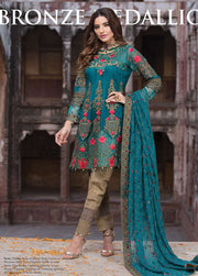 Beautiful chiffon dress by Imrozia in sea green and brown color