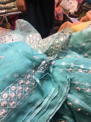 Beautiful chiffon dress by Zainab Chotani in ferozee turquoise color