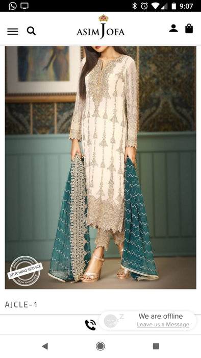 Beutifull chiffon dress by asim jofa in offwhite and sea green color Model # C 1221