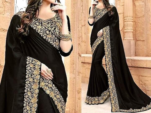 Black Bridal Indian Saree In Silk Fabric.Work Embalmed With Pure Dabka,Zari, And Nagh Work.