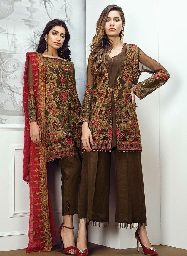 Beautiful dress by Sareen in chiffon color shoking pink red and brown color