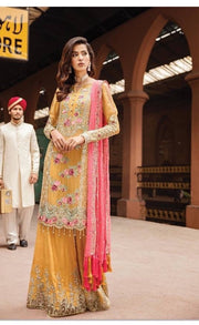 Stylish Sharara And Long Kameez.Work Embellished With Pure Threads Embroidery Tilla,Sequance,And Cutwork Patches.
