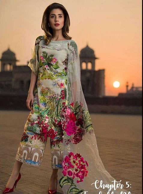 Beutifull lawn dress by Asifa nabeel in skin and pistachio green color Model# L 1182