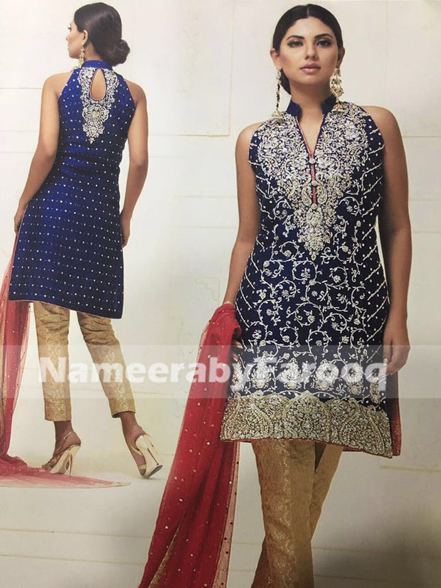Wedding Party Dress Dark Blue With Silver Dabka & Nugh Work
