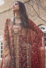 Beautiful deep red lehnga for bridal with mukaish work # B3329