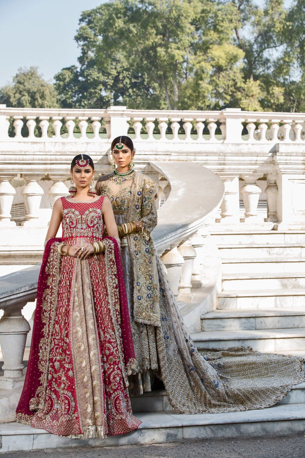 Beautiful designer pink dress with red gown and lehnga # B3342