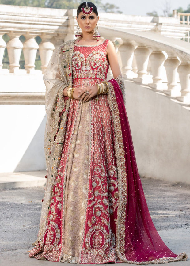 Beautiful designer pink dress with red gown and lehnga