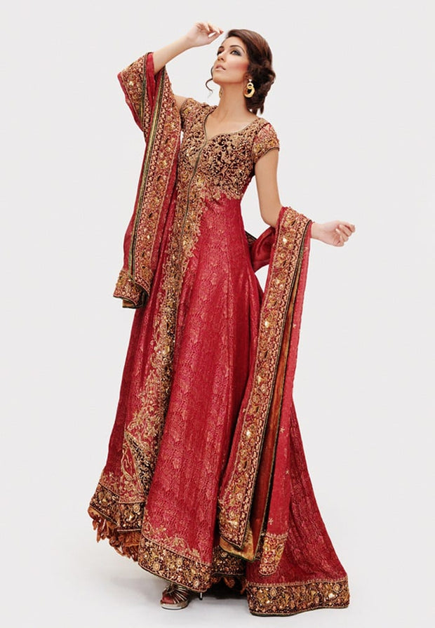 Designer Bridal Frock in Deep Red Color