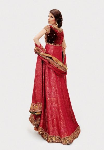 Designer Bridal Frock in Deep Red Color Backside