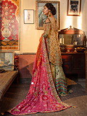 Designer Bridal Gharara Shirt for Mehndi Backside