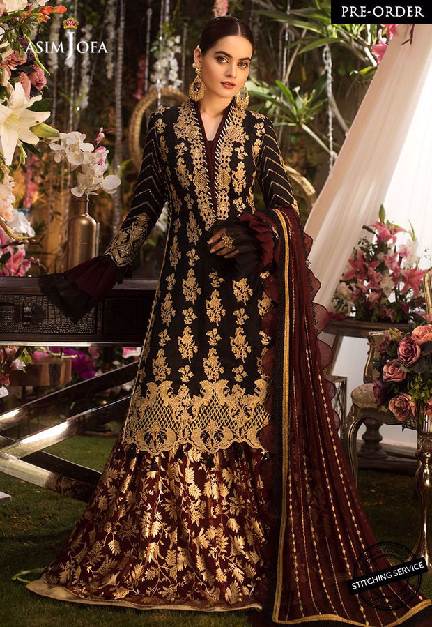 Designer Chiffon Gharara Shirt in Black Color
