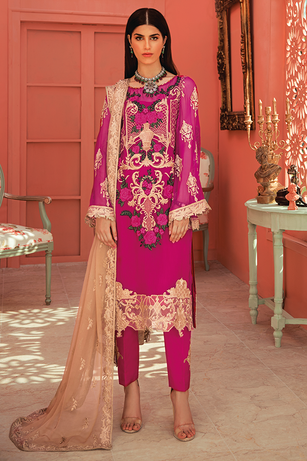 Designer Chiffon Party Dress in Magenta Color