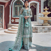 Designer Chiffon Trouser Shirt in Ice Blue Color