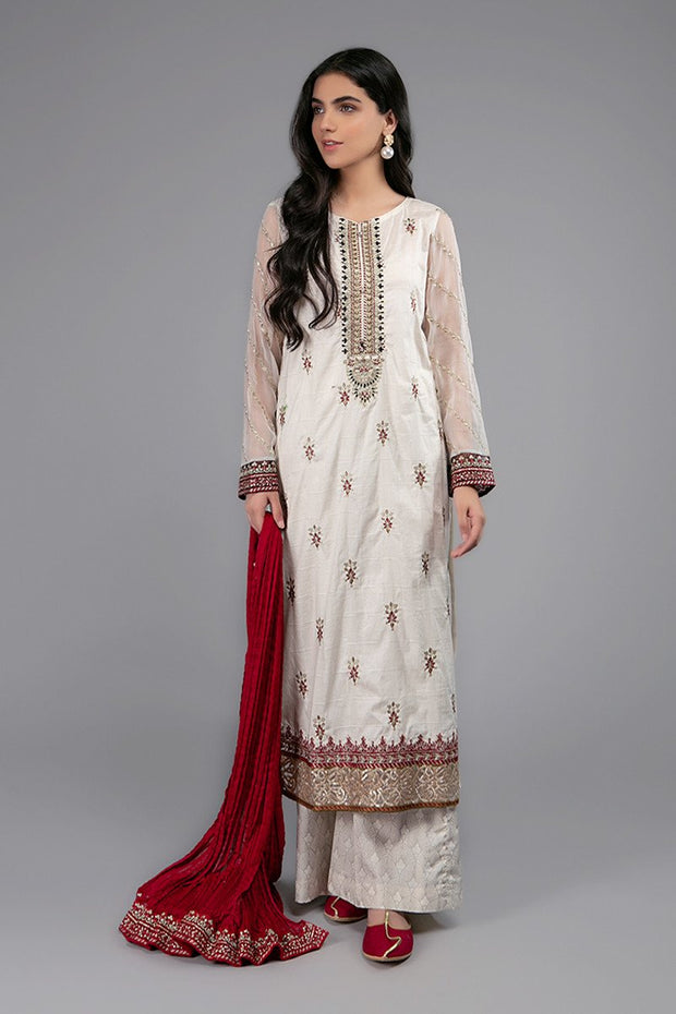 Designer Girls Eid Dress in Off White Color