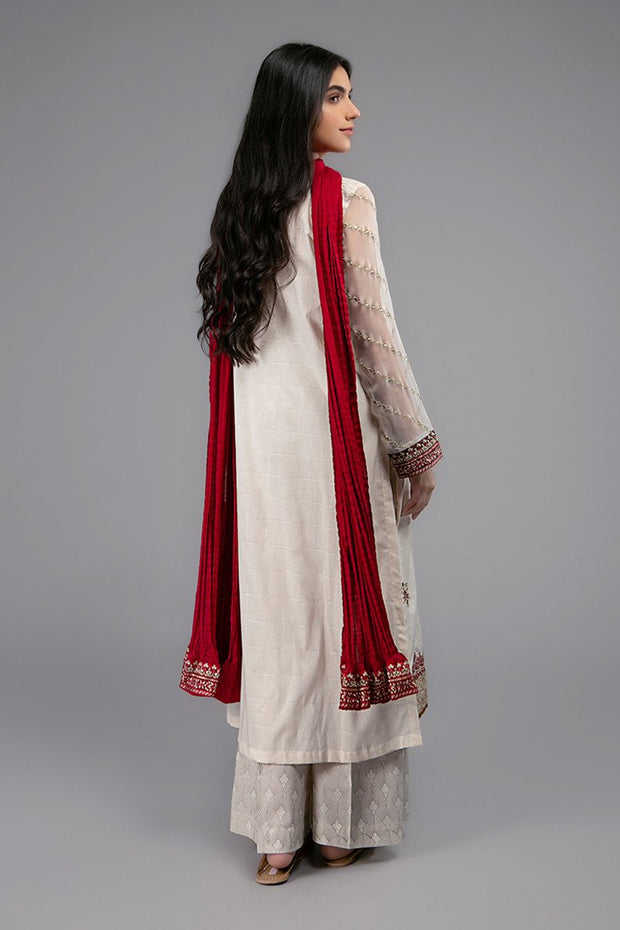 Designer Girls Eid Dress in Off White Color  Backside