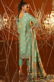 Designer Jacquard Eid Suit in Ferozi Color