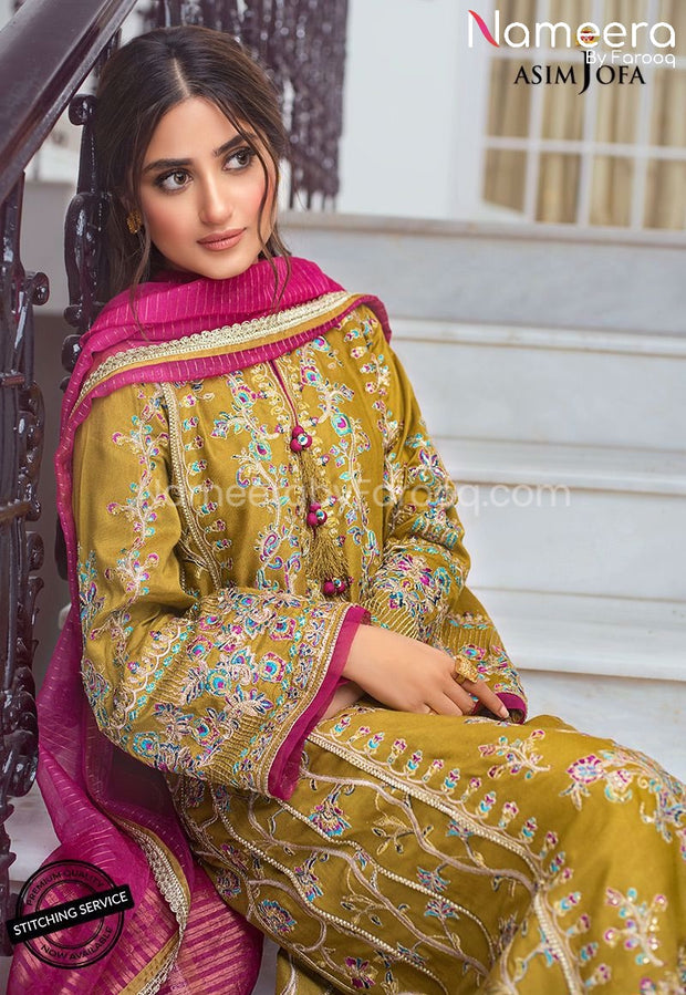 Designer Pakistani Party Wear with Neckline Embroidery