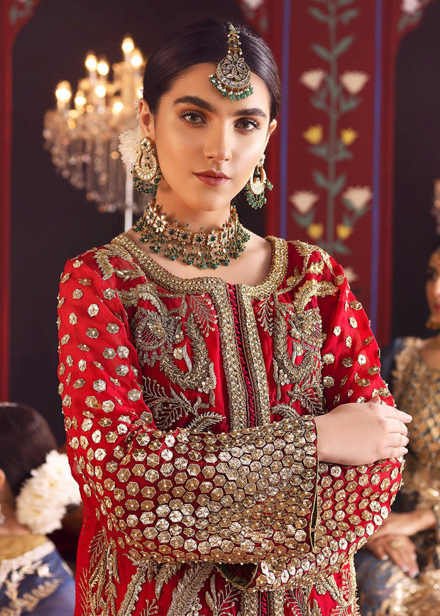 Designer Wedding Party Outfit in Red Color Close Up