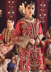 Designer Wedding Party Outfit in Red Color