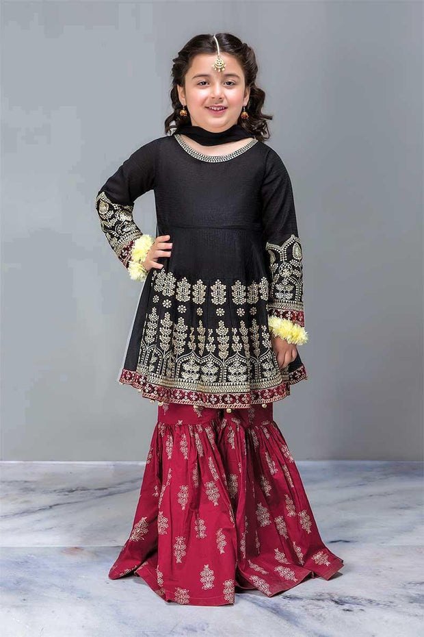 Designer Baby Girl Embroidered Black Frock with Gharara Dress