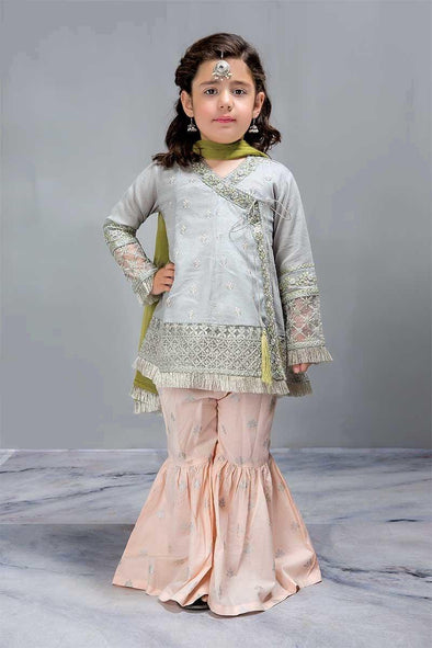 Designer Dress for Kids Angrakha Short Aline Frock with Gharara