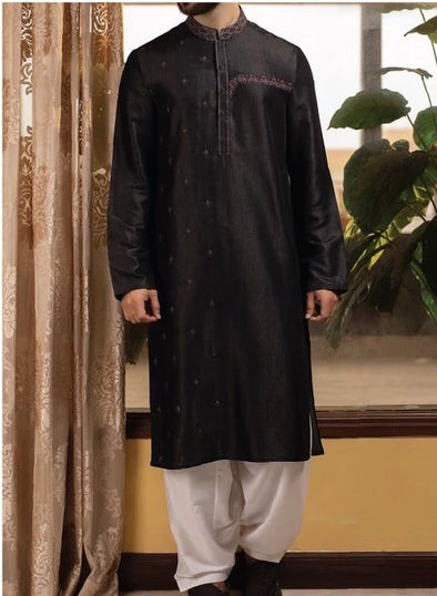 Designer Embroidered  Black Kurta for Men with White Shalwar