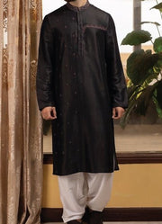 Designer Embroidered Men Kurta in Black White Shalwar- M14