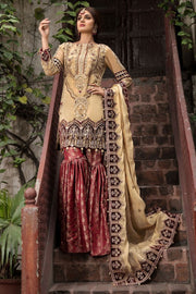Designer Gharara Shirt for Party in Skin and Maroon Color