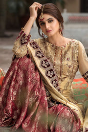 Designer Gharara Shirt for Party in Skin and Maroon Color Gharara Look