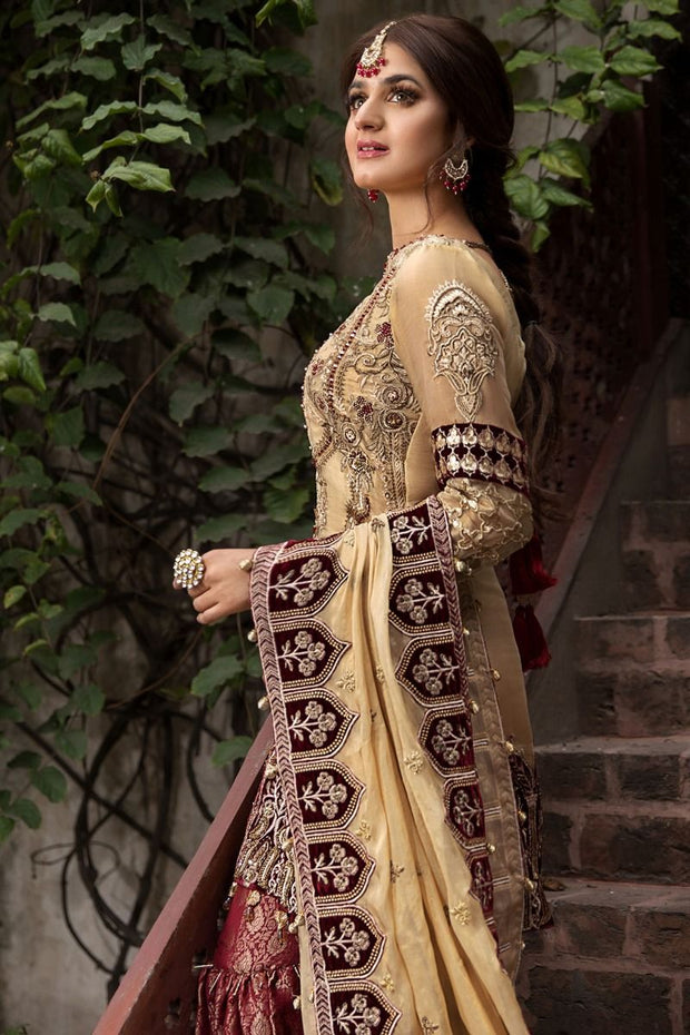 Designer Gharara Shirt for Party in Skin and Maroon Color  Side Pose