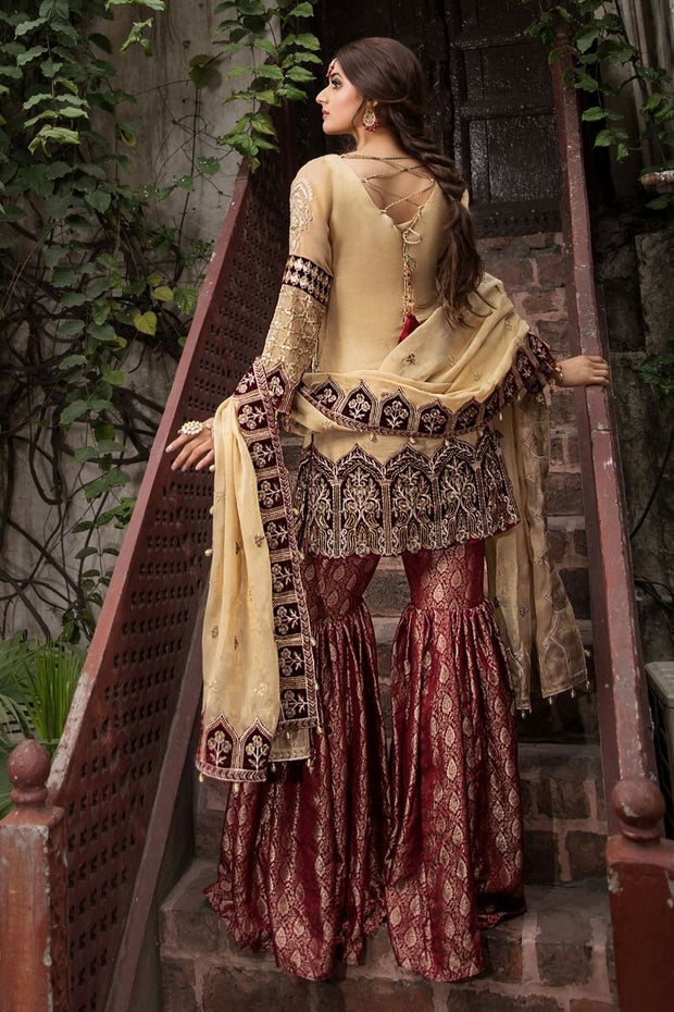 Designer Gharara Shirt for Party in Skin and Maroon Color  Backside