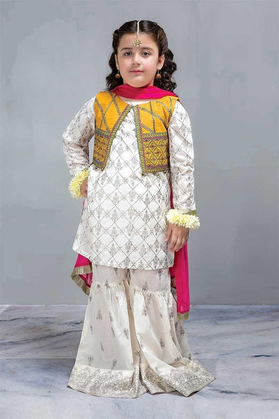 Designer Kids Kurta Gharara with Short Embroidered Jacket in USA