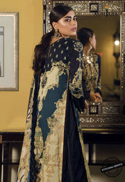 Designer Lawn Suit in Black Color Backside View