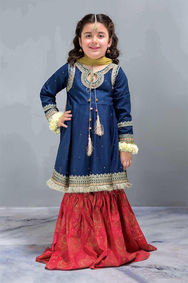 Designer Punjabi Attire for Kids  Blue Orange Color with Tila work