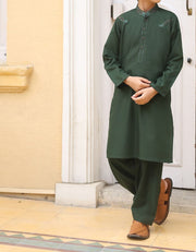 Pakistani designer boy dress in flag green color # K2314