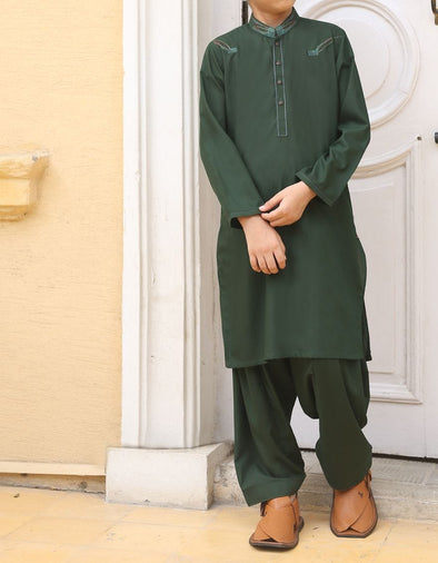 Pakistani designer boy dress in flag green color