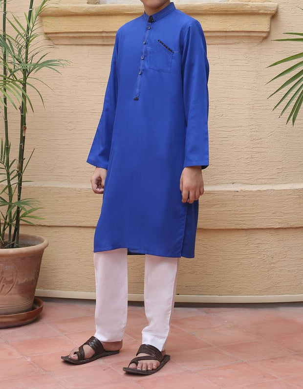 Beautiful designer boys kurta in lavish blue color # K2303