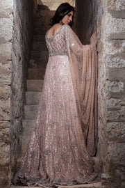 Beautifull designer bridal gown embroidered in Peach color # B3326