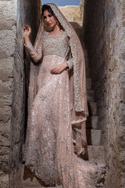 Pakistani designer bridal gown embroidered in Peach color