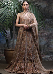 Latest designer bridal lehnga dress in rose gold color for wedding