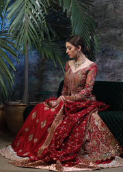 Latest designer bridal lehnga outfit in lush red color for wedding # B3450