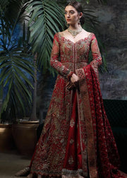 Latest designer bridal lehnga outfit in lush red color for wedding