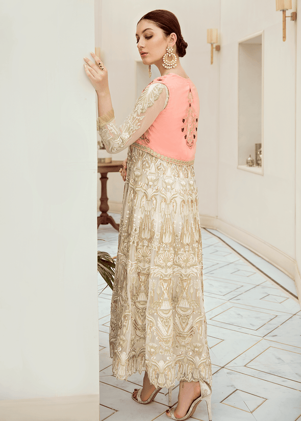 Pakistani designer chiffon outfit in white color # P2287
